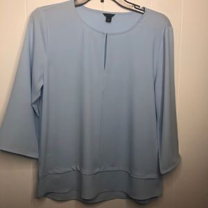 Ann Taylor blue pop over blouse. Size small.